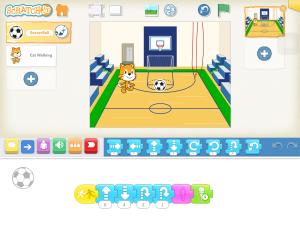 【Scratch jr】バスケットゴールにボールを入れた後、「やったー!」と声をあげるプログラムの作り方はこちら