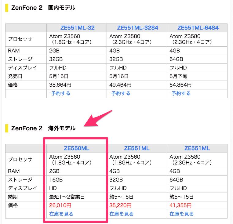 ZenFone 比較画面