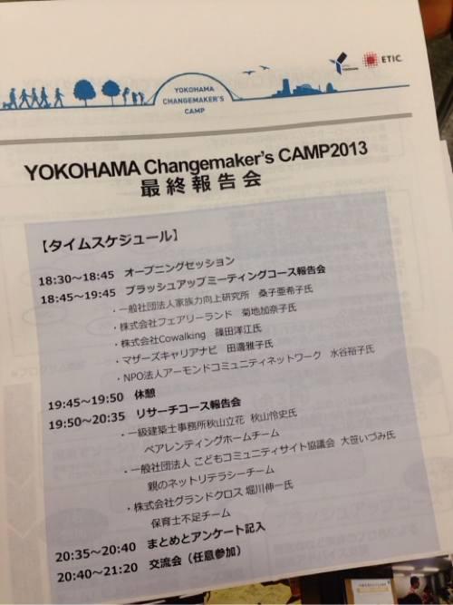 社会を良くする形は、いろいろある! YOKOHAMA Chagemaker's CAMP2013 最終報告会(2014.2.7)へ参加してきました